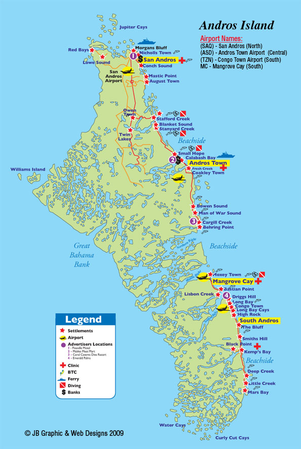 Andros Island « Livin' On The Hook: Detailed Map Of Andros Bahamas At Usa Maps